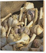 Organic Garlic Wood Print