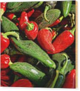 Organic Red And Green Peppers Wood Print