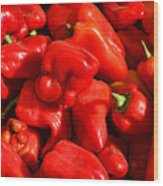 Organic Red Peppers Wood Print