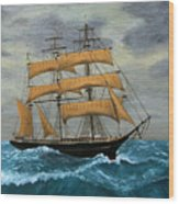 Original Artwork, Clipper Ships At Sea Wood Print
