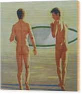 Original  Man Body Oil Painting  Gay Art -two Male Nude By The Sea#16-2-3-02 Wood Print