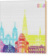 Osijek Skyline Pop Wood Print