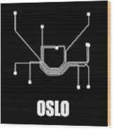 Oslo Black Subway Map Wood Print
