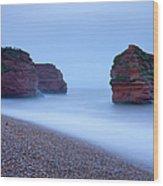 Otterton Sandstone Cliffs And Seastack Wood Print