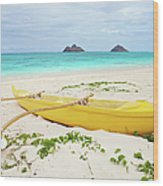 Outrigger Canoe Lanikai Beach Wood Print