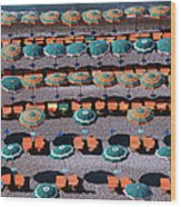 Overhead Of Umbrellas, Deck Chairs On Wood Print