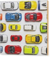 Overhead View On Colorful Car Toys Wood Print