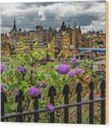 Overlooking The Train Station In Edinburgh Wood Print