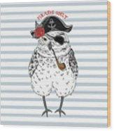 Owl Pirate, Nautical Poster, Hand Drawn Wood Print