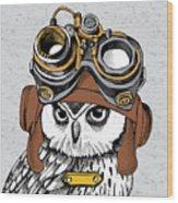 Owl Portrait In A Steampunk Helmet Wood Print