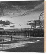 Pacific Park - Black And White Wood Print
