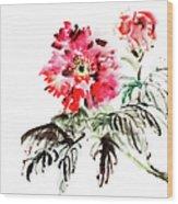 Paeonia Flowers Wood Print