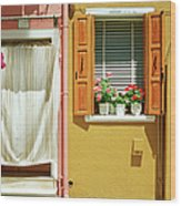 Painted House In Burano Wood Print