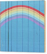 Painted Rainbow On Wooden Fence Wood Print