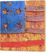 Painted Us Flag, Georgia, Usa Wood Print