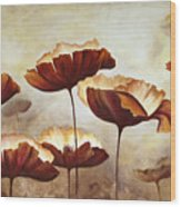Painting Poppies With Texture Wood Print