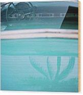 Palm Tree Reflection On Car Wood Print