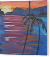 Palm Trees And Water Wood Print