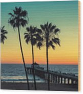Palm Trees At Manhattan Beach. Vintage Wood Print