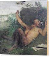 Pan Whistling At A Blackbird 1863 Wood Print