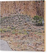Panorama Of Ancient Tyuonyi Pueblo Dwellings At Bandelier National Monument - Los Alamos New Mexico Wood Print