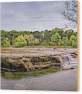 Panorama Of Link Falls At Upper Bull Creek District Greenbelt Park - Austin Texas Hill Country Wood Print