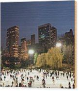 Panorama Of People Ice Skating In Wood Print