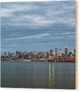 Panorama Of Seattle Skyline At Night With Storm Clouds Wood Print