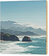Panoramic Shot Of Cannon Beach, Oregon Wood Print