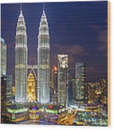Panoramic View Of Petronas Twin Towers Wood Print