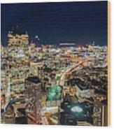 Panoramic View Of The Boston Night Life Wood Print