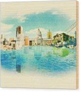 Panoramic Water Color Illustration San Wood Print