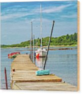 Paradise Sailing Day In Maine Wood Print