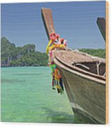 Paradise Tropical Beach With Longtail Wood Print