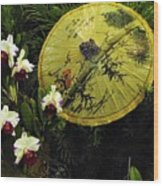 Parasol Among The Orchids Wood Print
