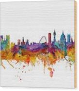 Paris and London Skylines mashup Wood Print