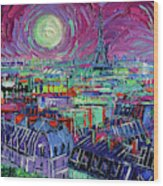 Paris By Moonlight Wood Print