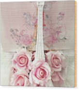 Paris Shabby Chic Pink White Roses Eiffel Tower Baby Girl Nursery Decor - Paris Pink Roses Wood Print