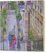 Paris Sous La Pluie Wood Print