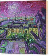 Paris View With Gargoyles Diptych Oil Painting Right Panel Wood Print