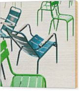 Parisian Metallic Chairs In The City Wood Print