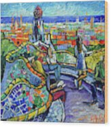 Park Guell Enchanted Visitors - Impasto Palette Knife Stylized Cityscape Wood Print