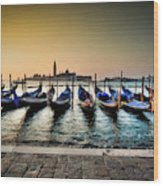 Parked Gondolas, Early Morning In Venice, Italy.  Wood Print
