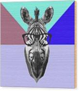 Party Zebra In Glasses Wood Print
