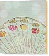 Pastel Ferris Wheel Wood Print