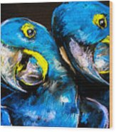 Pastel Painting Of A Blue Parrots On A Wood Print