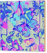 Pastel Wings And Button Butterflies Wood Print
