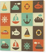 Patchwork Background With Sea Transport Wood Print