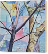 Patchwork Trees Wood Print