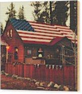 Patriotic Bar And Grill Wood Print